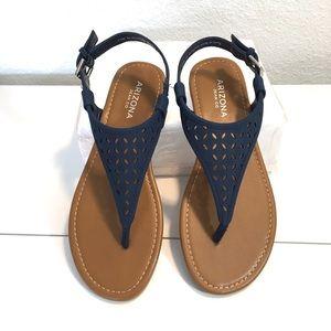 """Navy Blue """"Seymour"""" Sandals"""